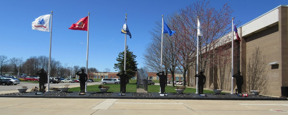 Outside Fitch high school veterans memorial