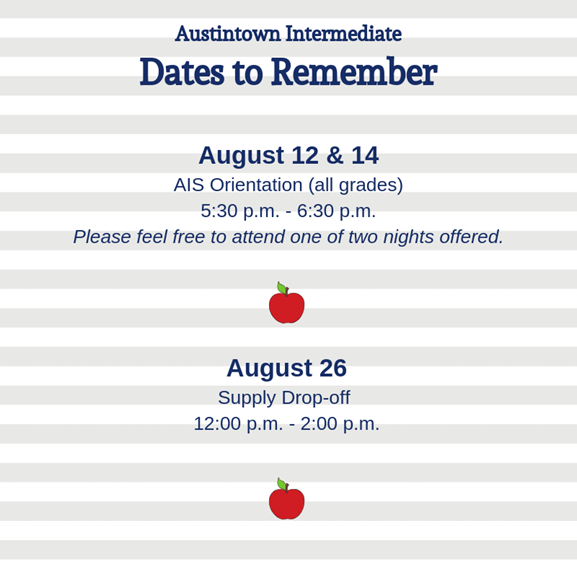 AIS dates to remember